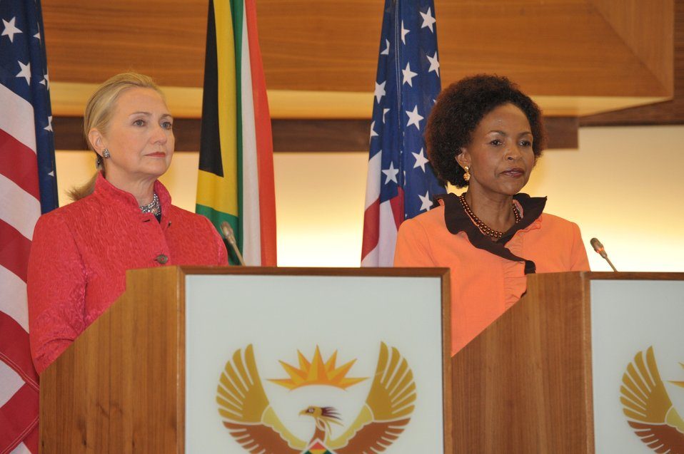 Secretary Clinton and South African Foreign Minister Nkoana-Mashabane Address Reporters