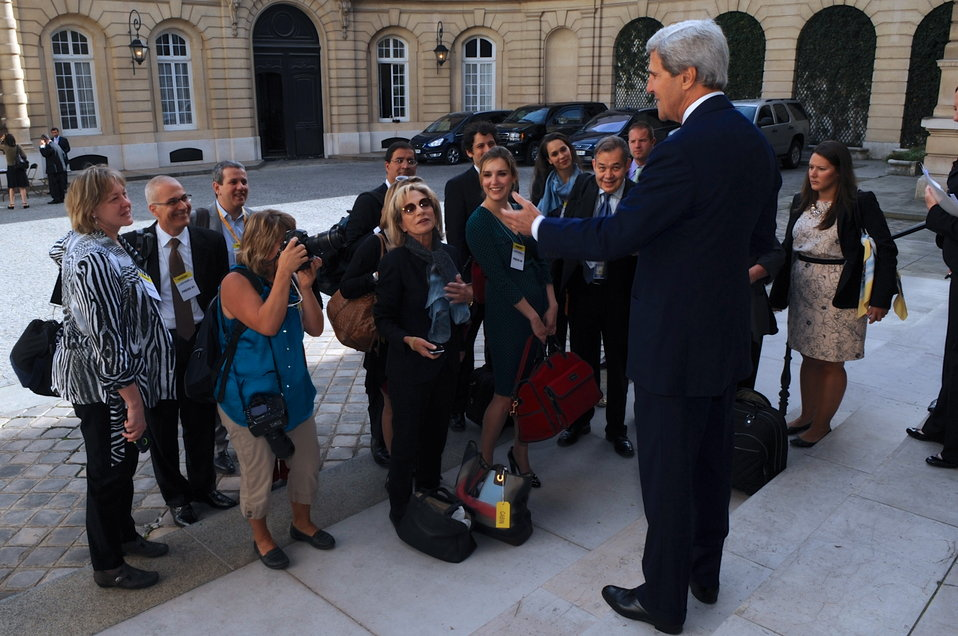 Secretary Kerry Greets the Traveling Press Corps