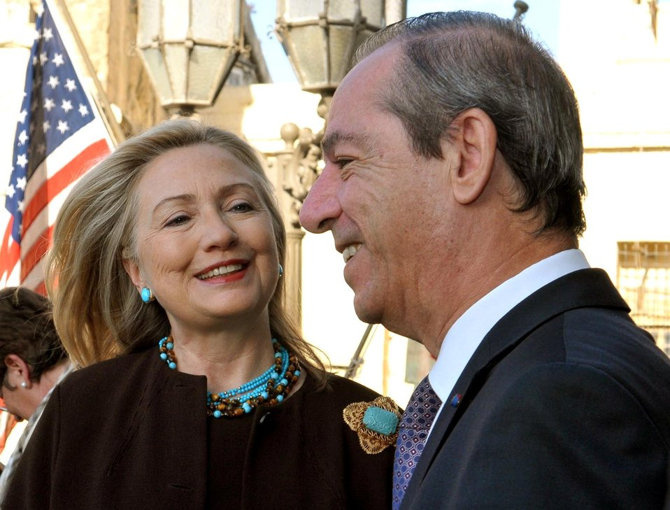 Secretary Clinton Is Greeted By Maltese Prime Minister Gonzi