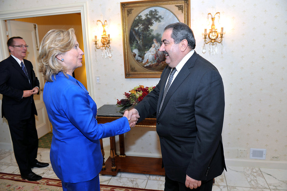 Secretary Clinton Shakes Hands With Iraqi Foreign Minister Zebari