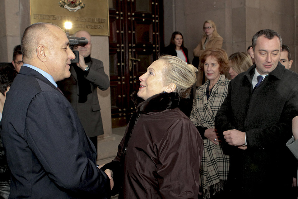 Secretary Clinton is Greeted By Bulgarian Prime Minister Borissov