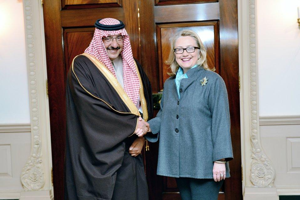Secretary Clinton Shakes Hands With Prince Mohammed bin Naif bin Abdulaziz