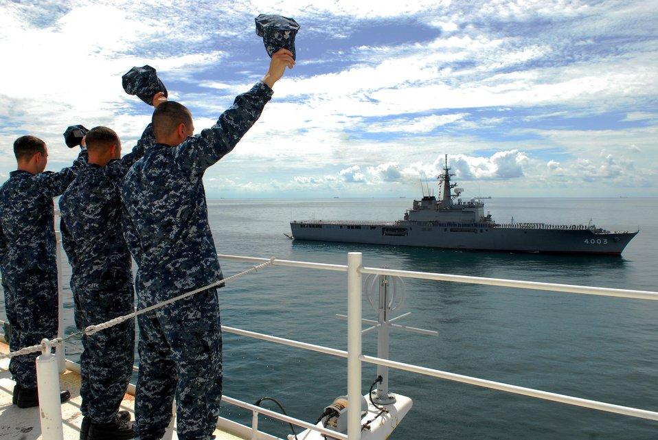 Sailors Aboard the USNS Mercy Wave at the Japan Maritime Self Defense Force Ship JDS Kunisaki