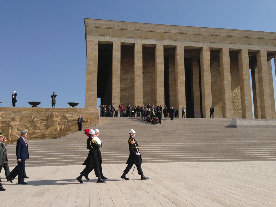Secretary Kerry Participates in a Wreath-Laying Ceremony at Ataturk's Tomb