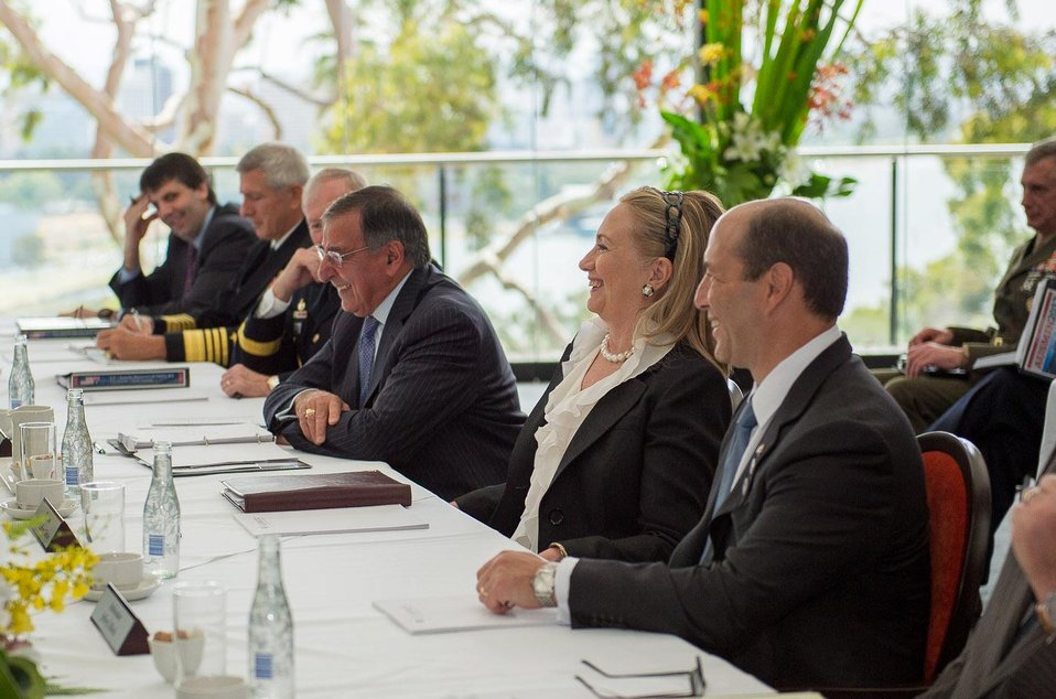 Ambassador Bleich, Secretaries Clinton and Panetta, and Vice Admiral Harris Participate in a Working Lunch