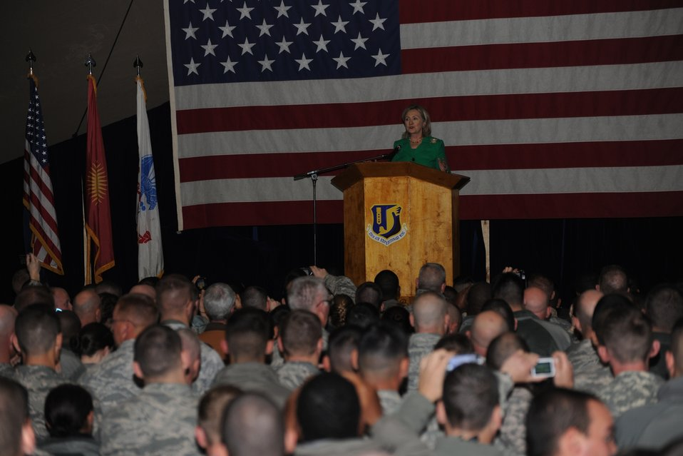 Secretary Clinton Speaks With U.S. Troops