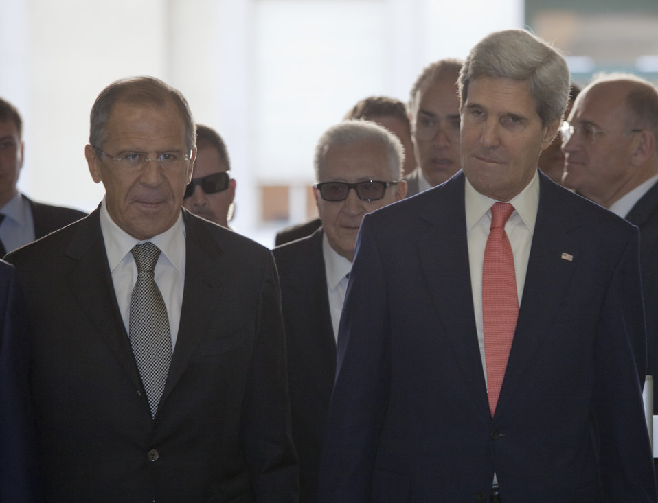 Secretary Kerry and Russian Foreign Minister Lavrov Enter UN Headquarters in Geneva