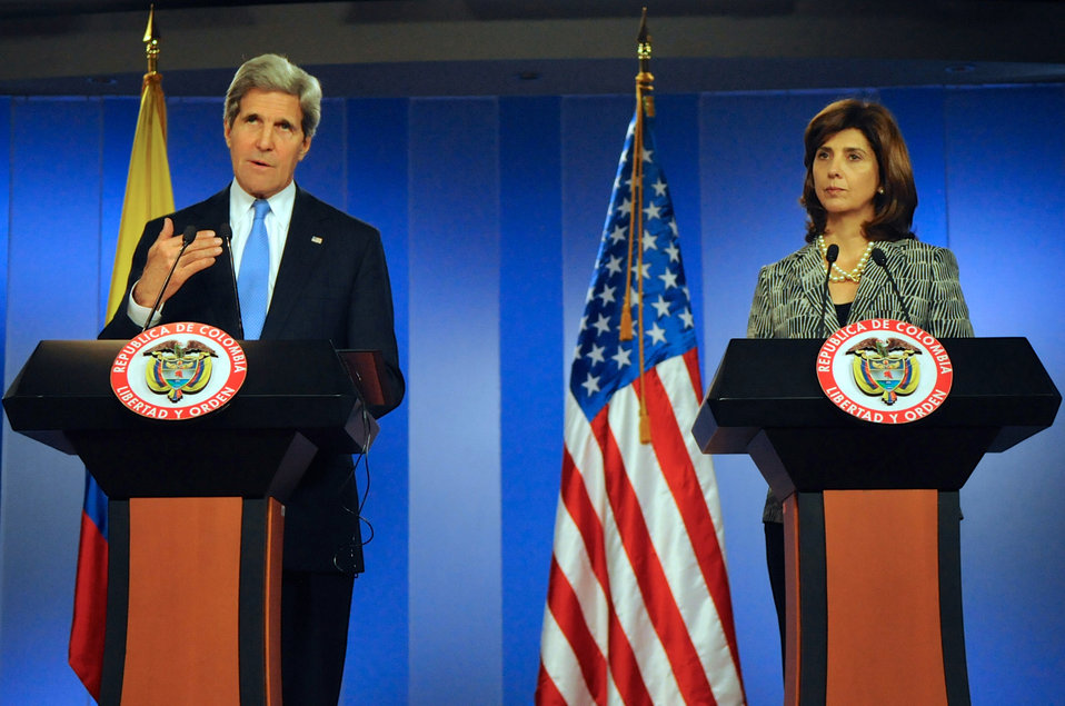 Secretary Kerry and Colombian Foreign Minister Holguin Address Reporters