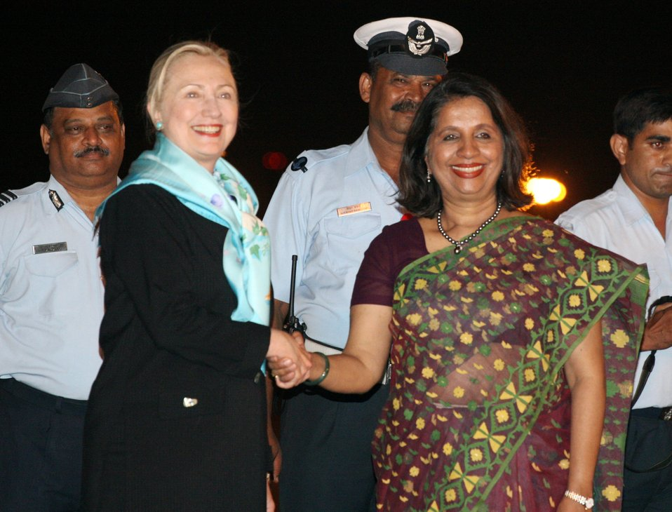 Secretary Clinton Is Greeted By Indian Foreign Secretary Nirupama Rao