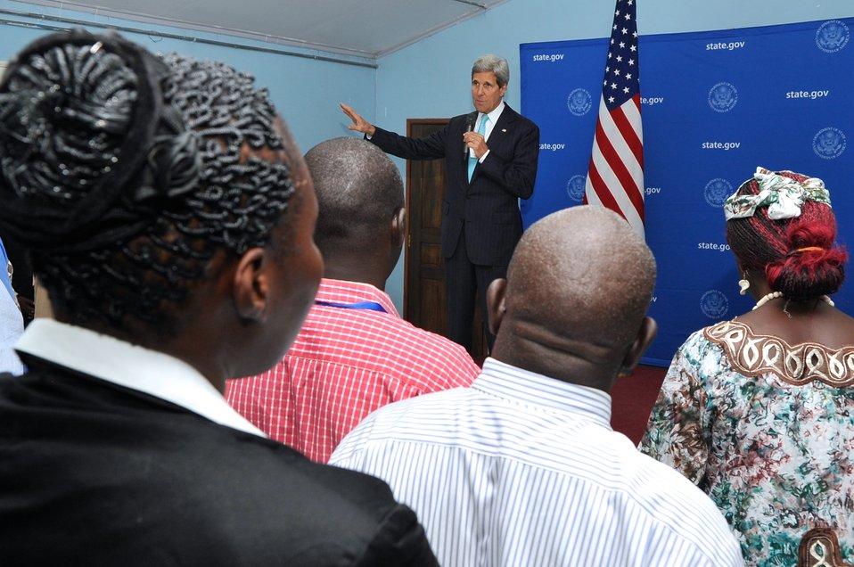 Local Staff at Embassy Juba Listens to Secretary Kerry Speak