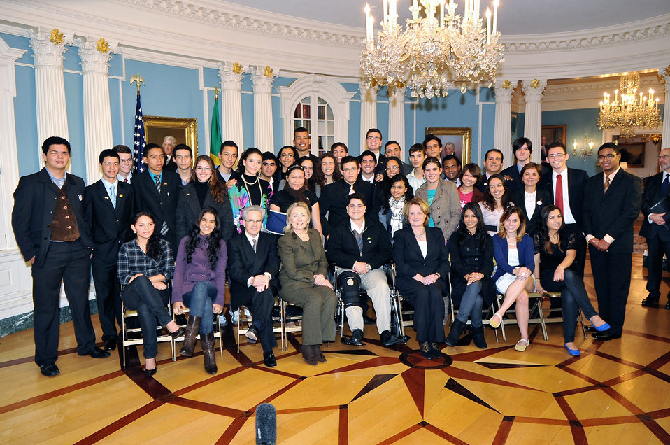 Secretary Clinton Poses for a Photo With Brazilian Youth Ambassadors