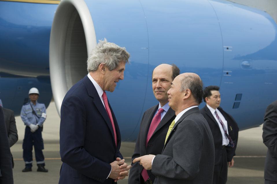 Secretary Kerry Is Welcomed in Japan