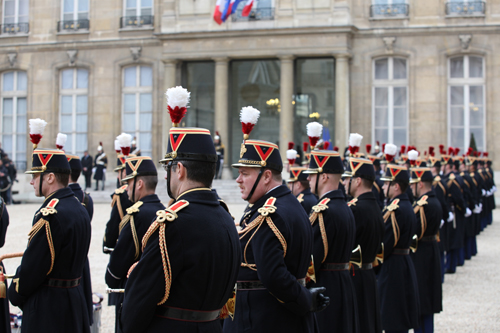 French Soldiers Stand at Attention
