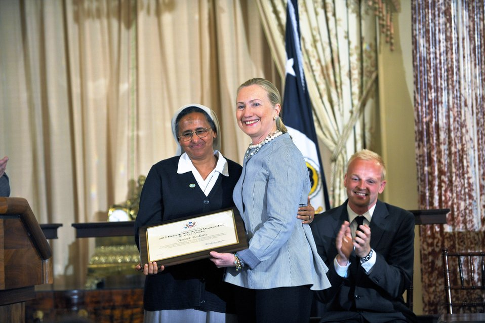 Secretary Clinton With TIP Hero Azezet Habtezghi Kidane