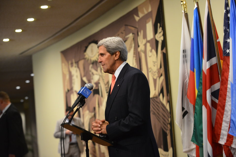 Secretary Kerry Addresses Reporters After the P5 1 Meeting on Iran