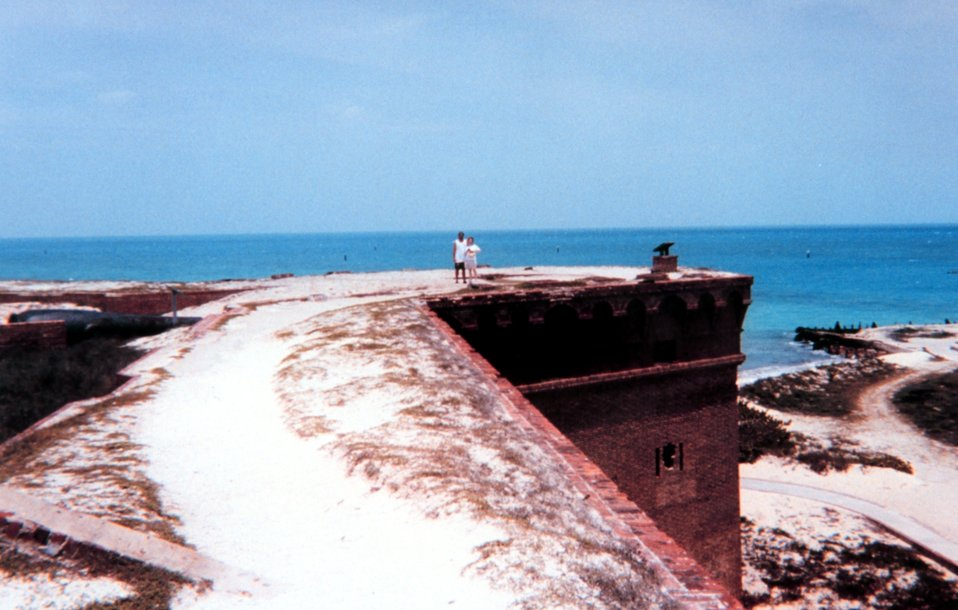A view  looking to the north along a section of the top of Fort Jefferson.