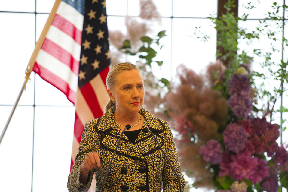 Secretary Clinton Addresses Reporters in Tokyo