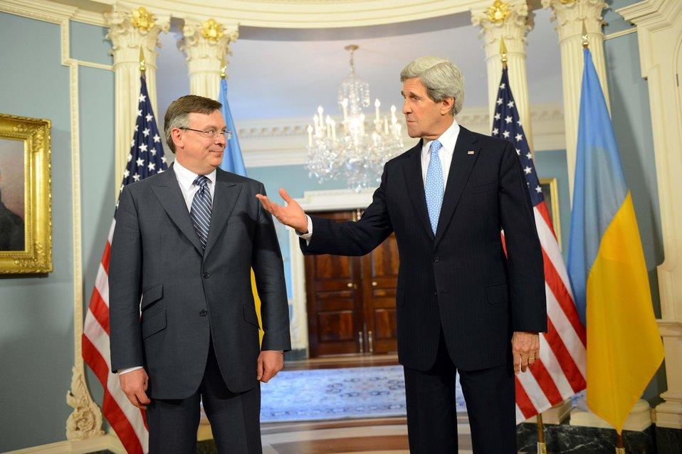 Secretary Kerry Meets With Ukrainian Foreign Minister Kozhara