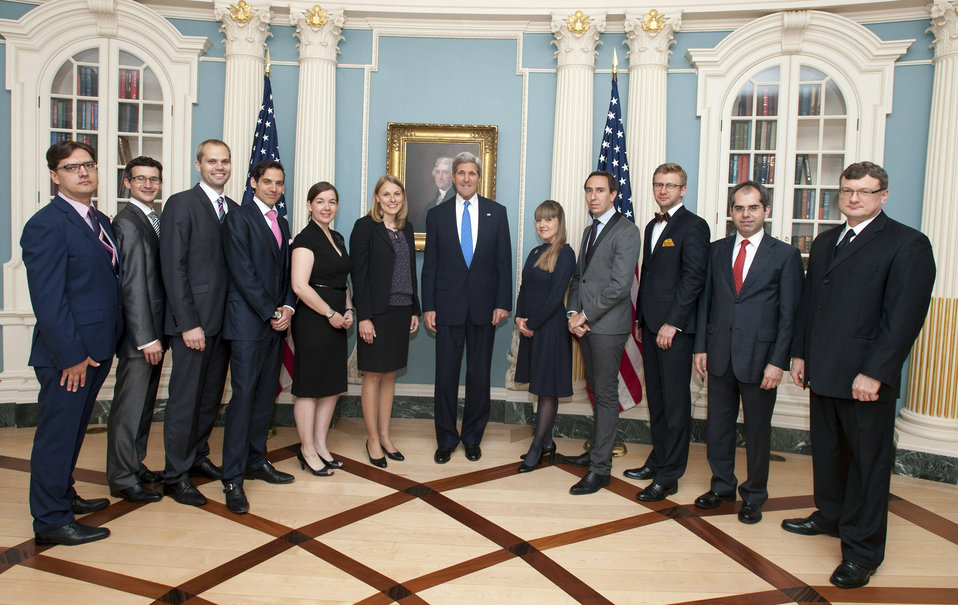 Secretary Kerry Poses for a Photo With the Transatlantic Diplomatic Fellows