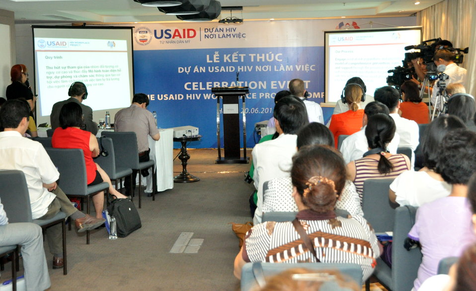 Significant outcomes achieved by the USAID HIV Workplace Project are presented during the completion event.