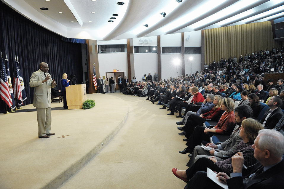 Secretary Clinton Holds a Town Hall Meeting at the Department of State