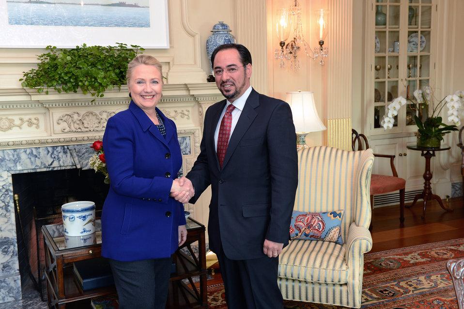 Secretary Clinton Meets With Afghanistan's High Peace Council Chairman Rabbani