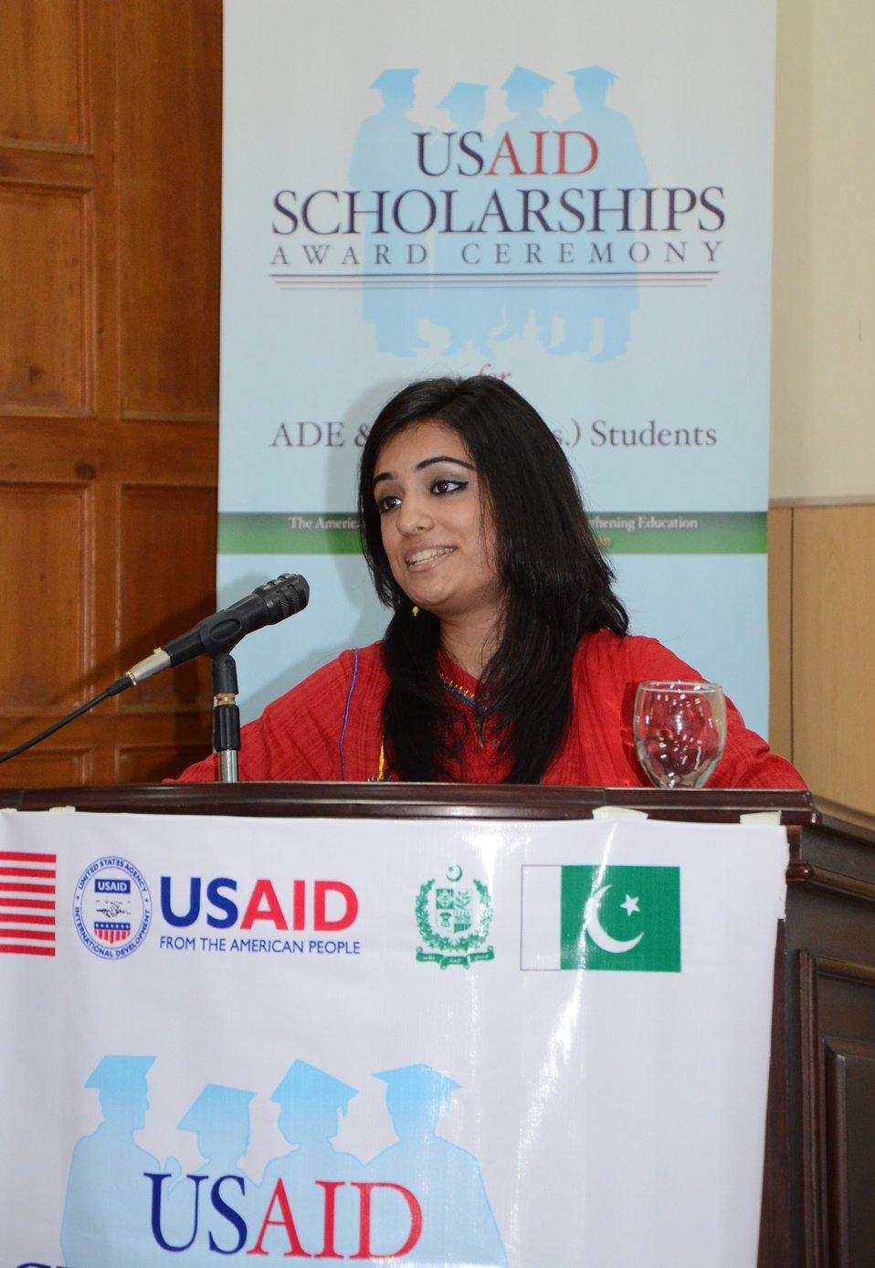 A USAID schoalrship recipient from Fatima Jinnah Women University