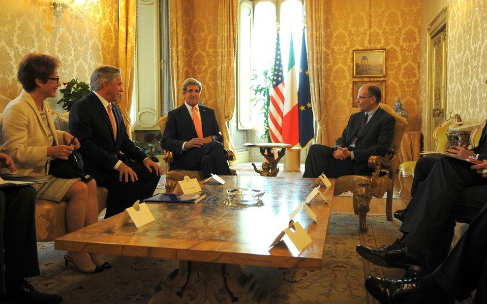 Secretary Kerry Meets Italian Prime Minister Letta