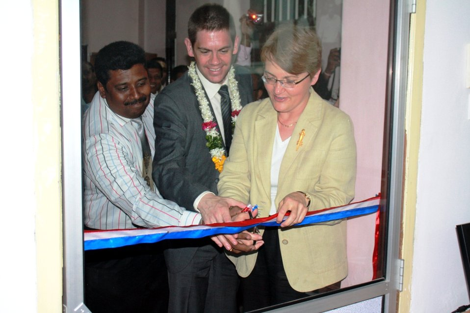 Ambassador Butenis, With PAO Anderson and Sughirtharaj, Opens the American Corner Jaffna