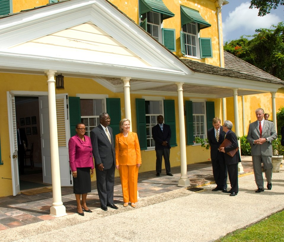 Secretary Clinton With Barbadian Minister of Foreign Affairs Maxine McClean and Barbadian Acting Prime Minister Freundel Stuart