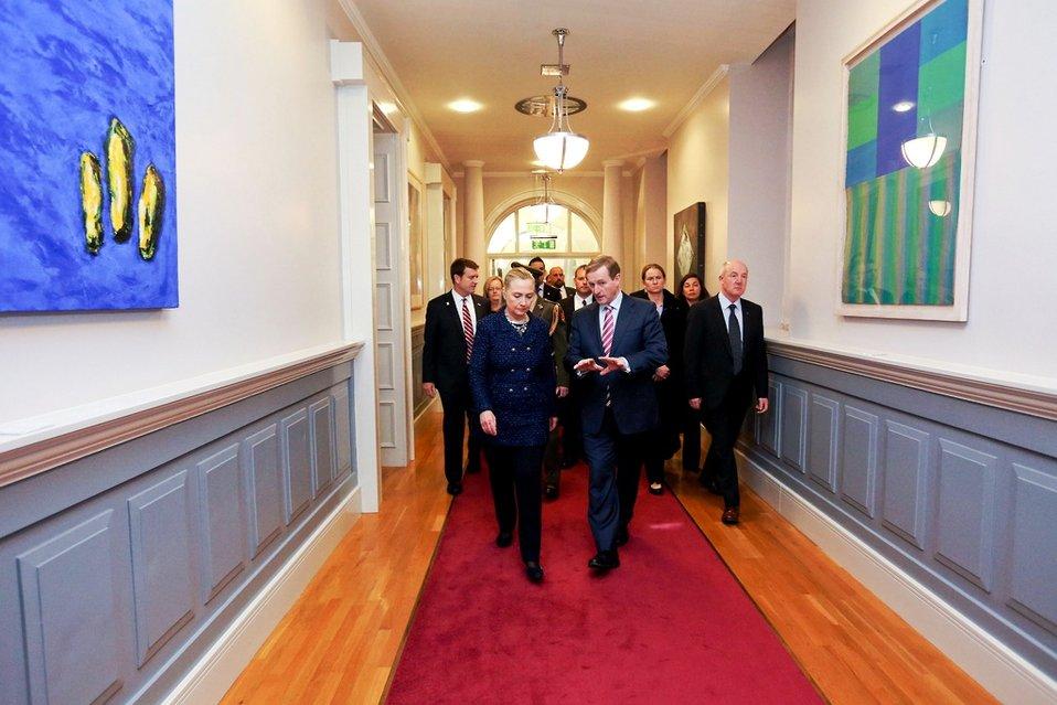 Secretary Clinton Walks With Taoiseach Kenny