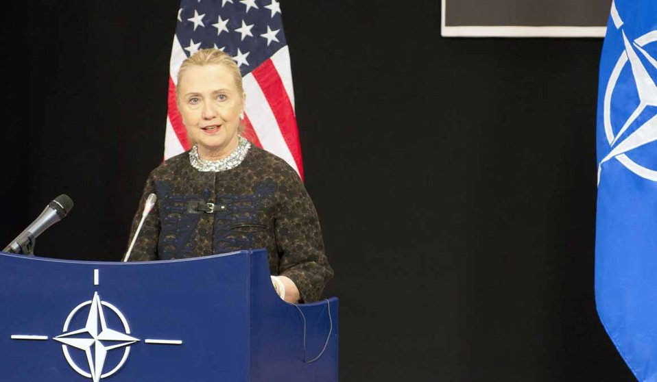 Secretary Clinton Addresses Reporters at NATO Headquarters