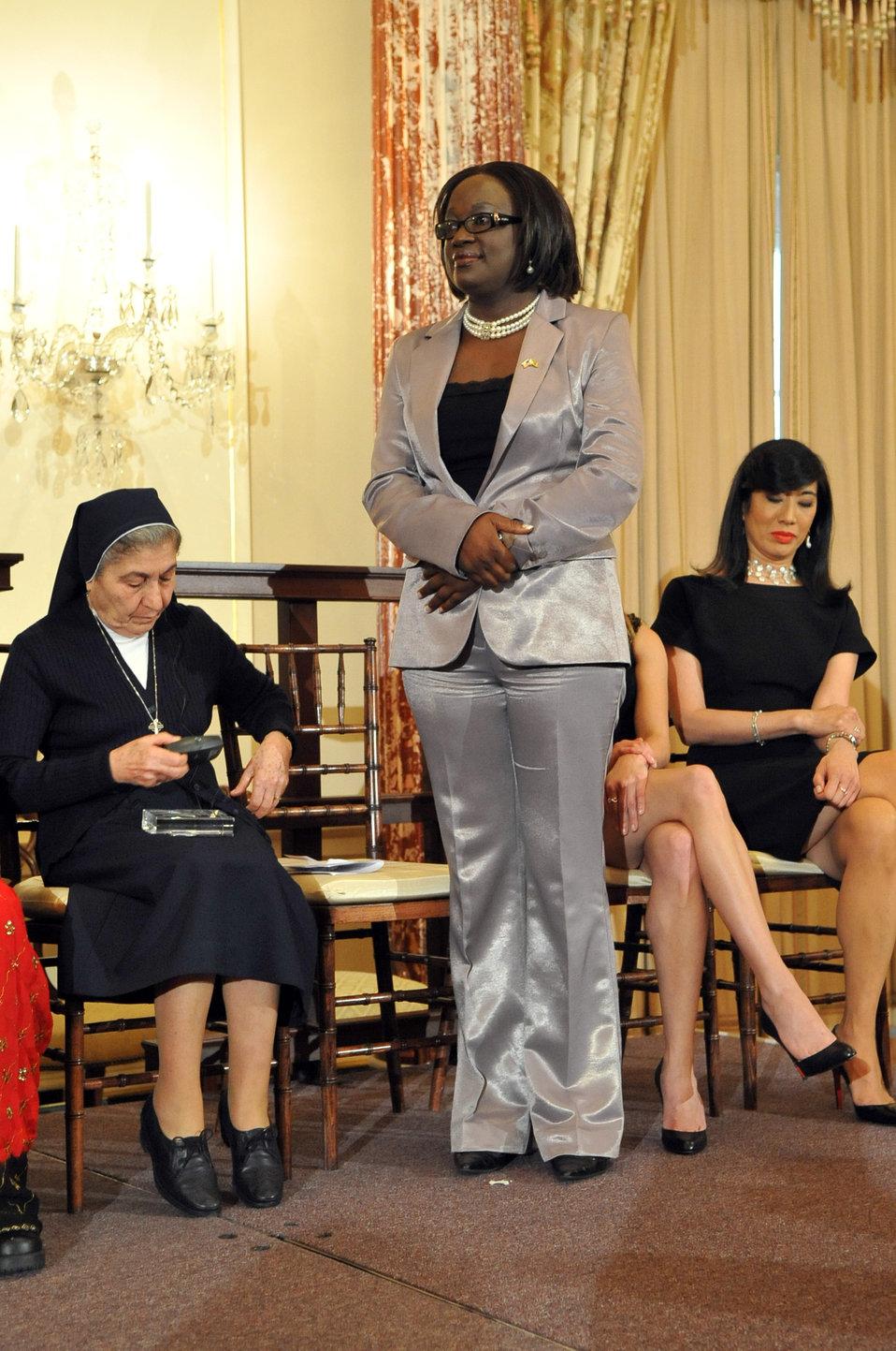 Honoree Jestina Mukoko of Zimbabwe Stands