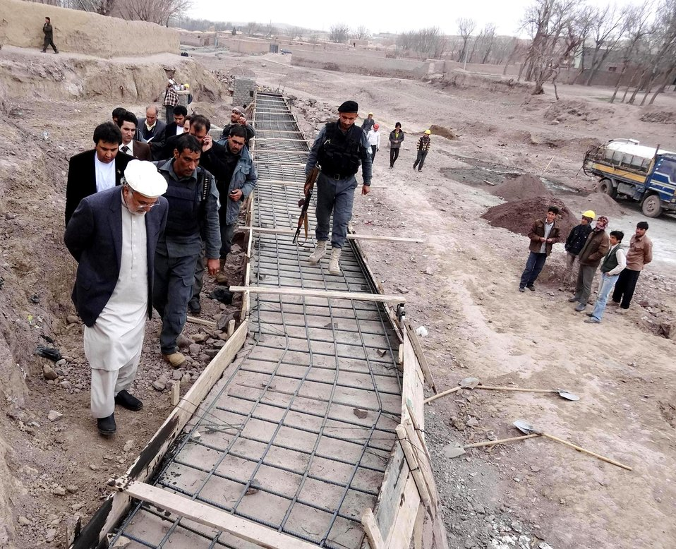 The Herat Provincial Governor visited the work progress of the protection wall construction project in Jaqatai village in Kushk Rabat-e Sangi on December 15th
