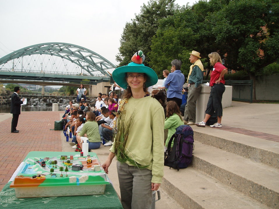 EPA Volunteer Dressed up as a Wetland on World Water Monitoring Day