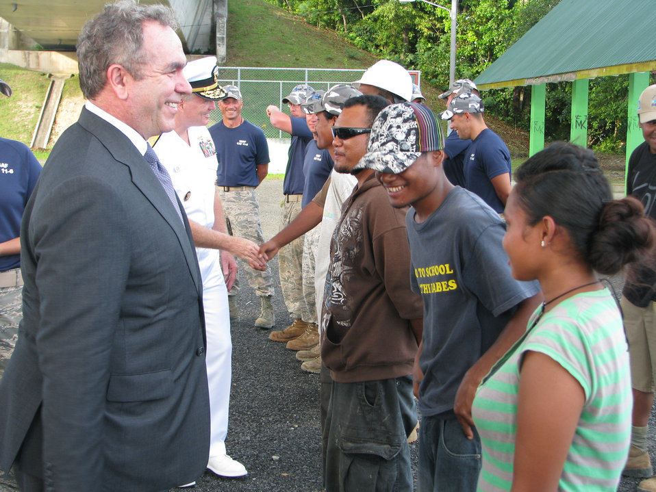 Assistant Secretary Campbell and Adm. Walsh Speak With Local Residents