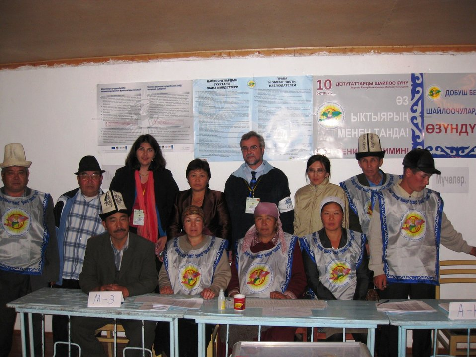 U.S. Embassy Bishkek Officers Pose for a Photo With Kyrgyz Election Volunteers