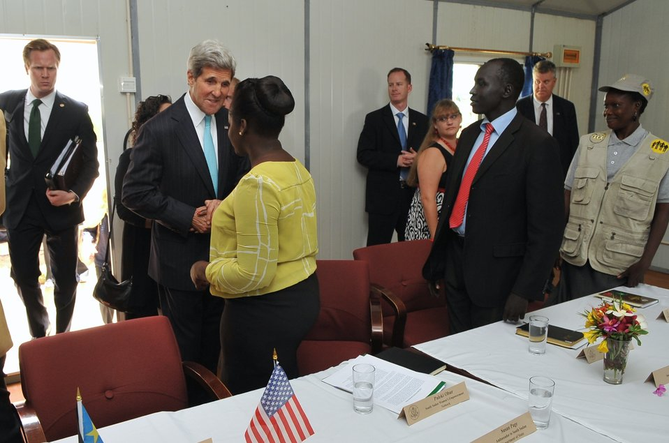 Secretary Kerry Greets With Members of South Sudanese Civil Society