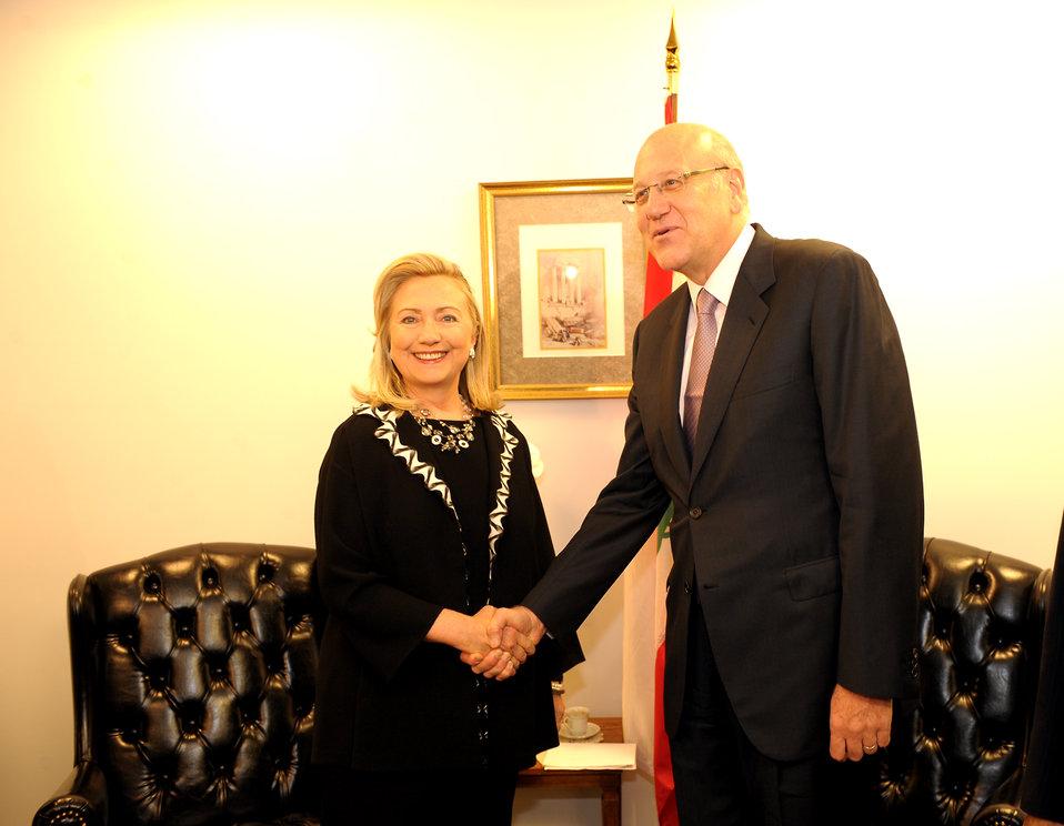 Secretary Clinton Meets With Lebanese Prime Minister Najib Mikati