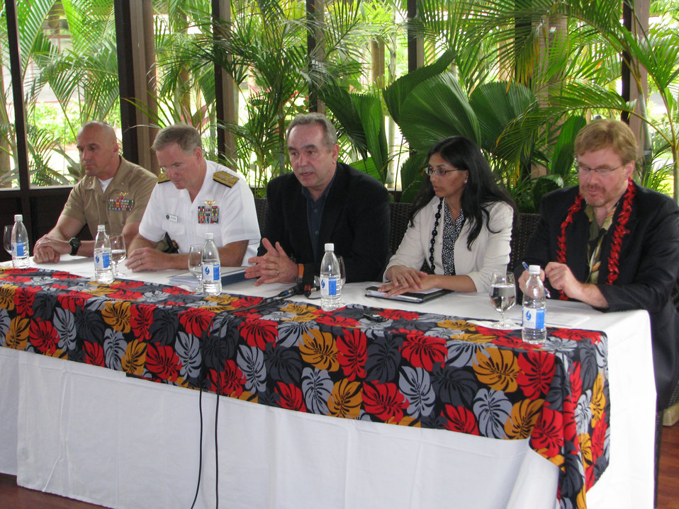 Assistant Secretary Campbell Speaks at a Press Conference in Samoa