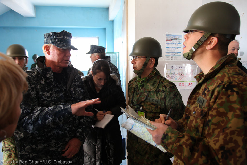 Admiral Willard Discusses Relief Efforts with Japan Self Defense Forces Leaders