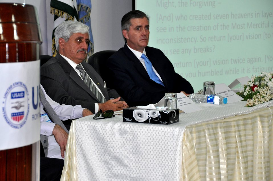 The United States Ambassador to Pakistan, Richard Olson broke ground for a U.S. funded construction of a new Faculty of Education building in Muzaffarabad, AJK.  06