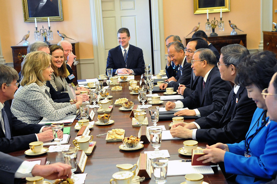 Secretary Clinton Hosts Working Luncheon With Chinese State Councilor Dai Bingguio