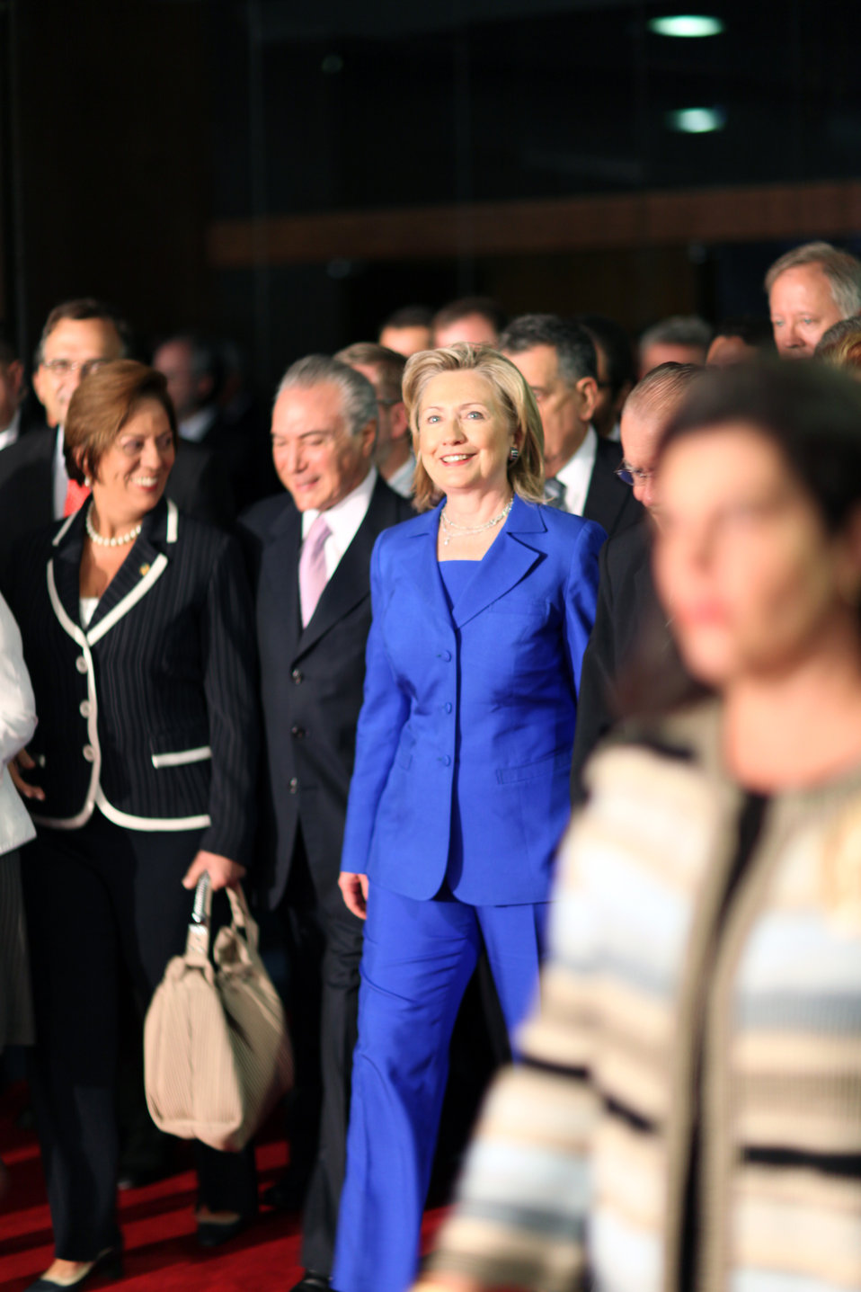 Secretary Clinton Departs a Meeting