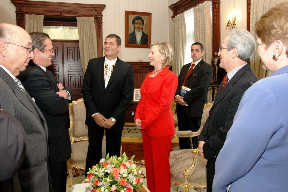 Secretary Clinton Is Greeted By Ecuadorian President Rafael Correa, Ecuadorian Foreign Minsiter Ricardo Patino, and Ecuadorian Ambassador to the United States Luis Gallegos
