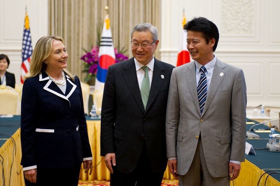 Secretary Clinton With Korean Foreign Minister Kim and Japanese Foreign Minister Gemba