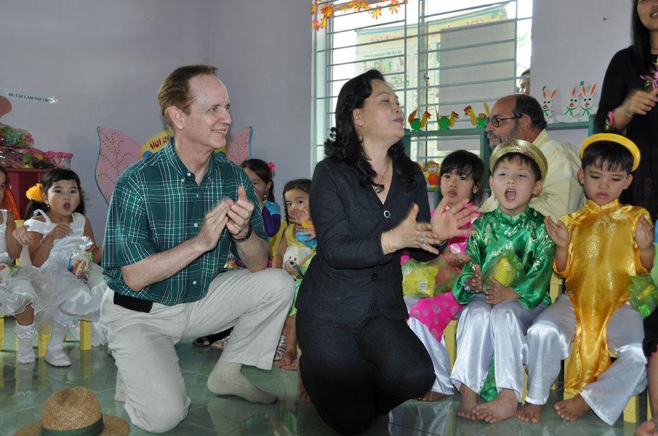 Children in Kon Tum, Vietnam, enjoy their new pre-schools refurbished with USAID funding