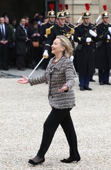 Secretary Clinton Arrives at the Elysee Palace