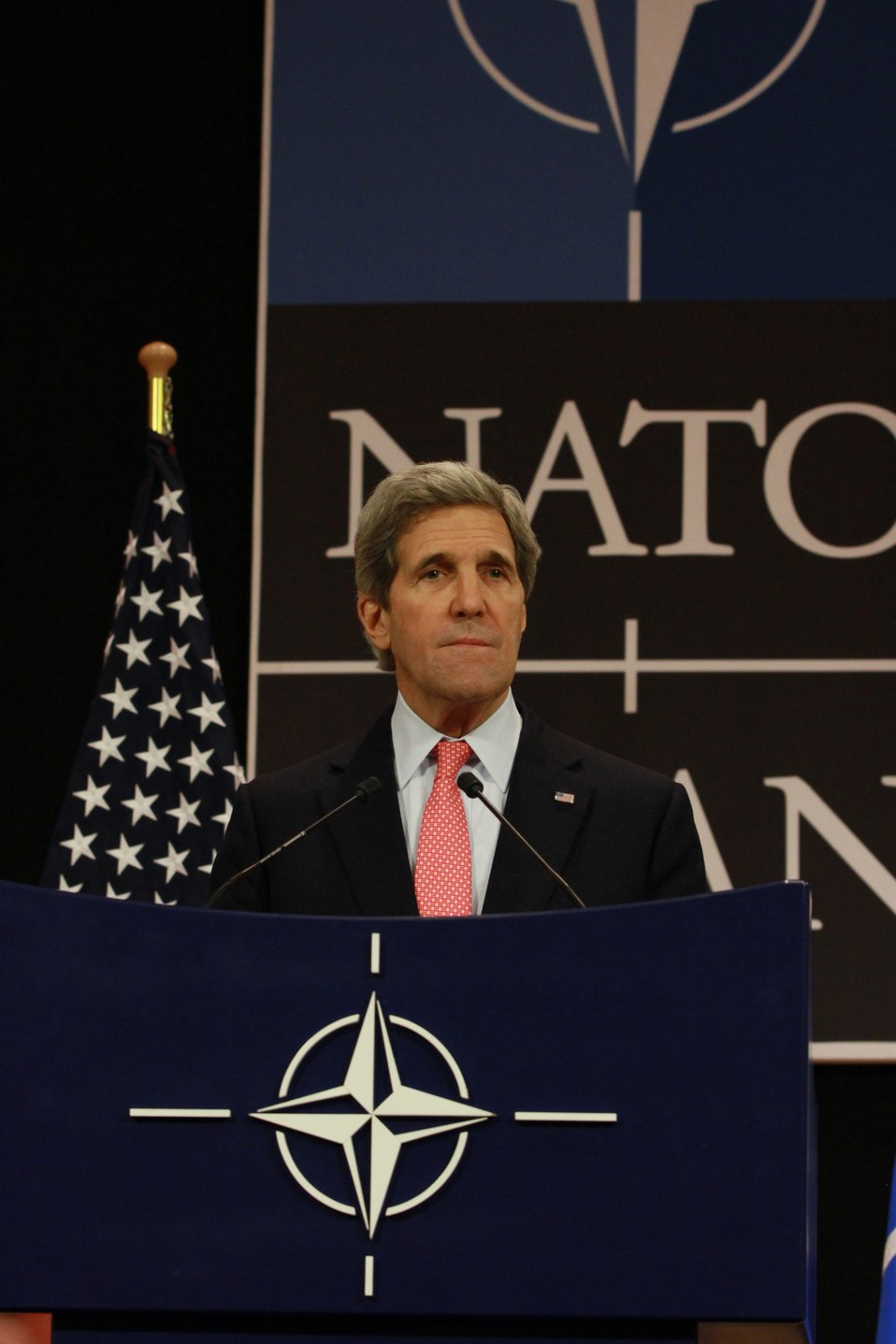 Secretary Kerry Takes Question From a Journalist at the NATO Foreign Ministerial