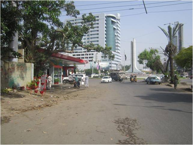 The pump is located in the Clifton neighborhood in Karachi